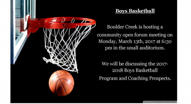 2017-2018 Boys Basketball Program, Open Forum Meeting