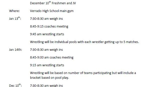 Wrestling Tournament – December 10th – Freshmen & JV
