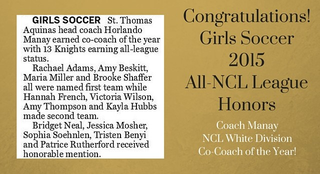 Congratulations Girls Soccer All-NCL Honors!