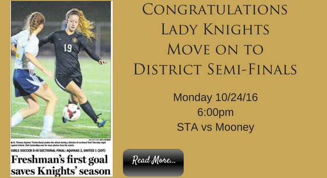 Lady Knights Soccer Moves on to District Semi-Final