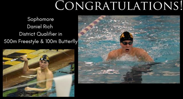 Daniel Rich Moving to District Swim Meet! Congratulations!