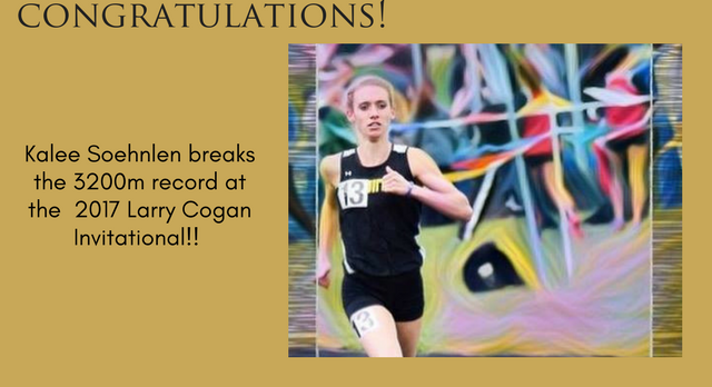 Kalee Soehnlen Breaks 3200m Record