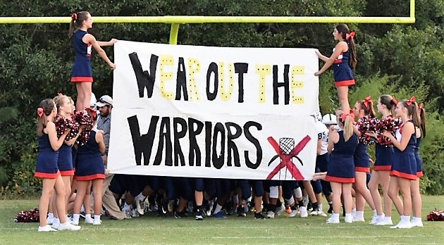 "Powdersville Middle School Cheerleaders help football ""Wear out the Warriors"""