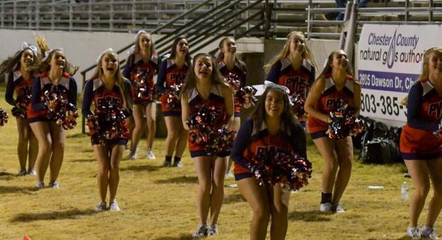 Powdersville Varsity Spirit Cheerleaders at Chester for final Football game