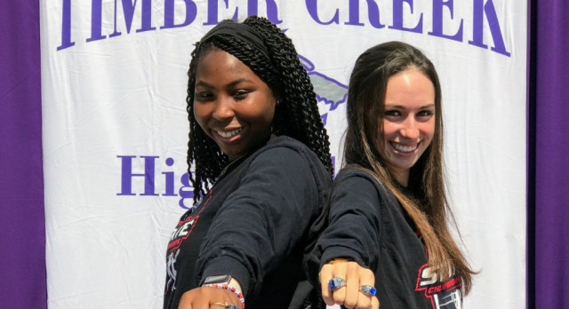TC Girls Tennis Show off their State Rings