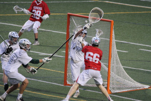 Senior attackman Joe O'Connell scores during last night's game versus #5 Zionsville.