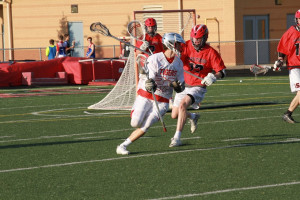 Senior Justin Wilson in the offensive zone during yesterday evening's game.