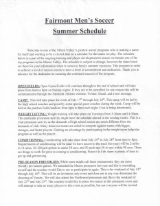 Fairmont Men's Soccer Summer Schedule P1