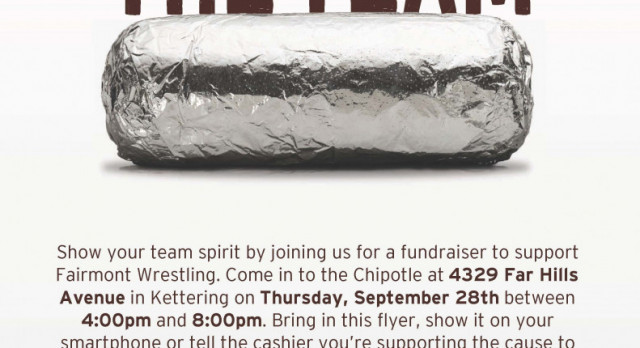 EAT AT CHIPOTLE ON 9/28/17 – HELP WRESTLING!