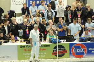 MO State Finals - 100 Breast - Cheering for Tim