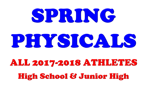 Reminder: Physicals for Incoming 7th-12th grade Athletes
