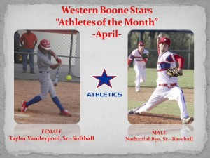 Western Boone Stars Athlete of the month April
