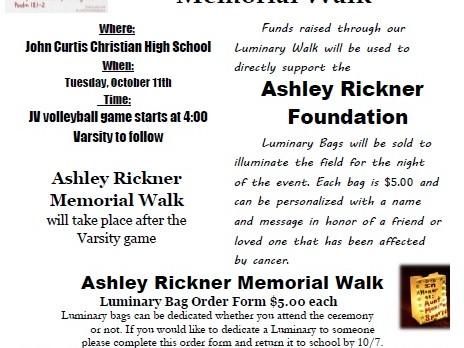 Ashley Rickner Memorial Luminary Walk Information