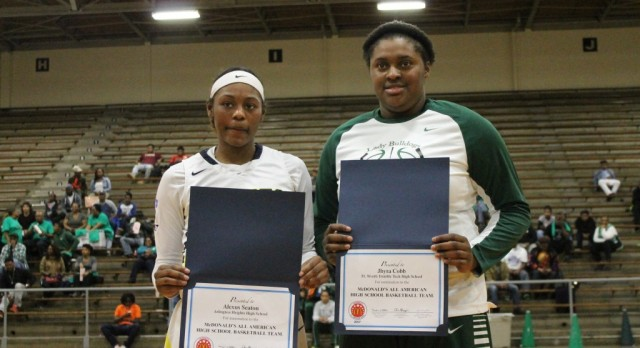 Jhyrah Cobb and Alexus Seaton (A. Heights) honored as McD's All-American Nominees, both Bulldog basketball teams  win to remain undefeated in district play. Pictures of both game in article.
