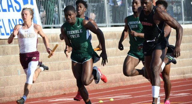 Trimble Tech Track Teams dominate relays at district, have a strong contingent going to represent Trimble Tech at Regionals in Lubbock!