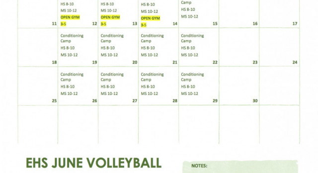 June Volleyball Open Gym Dates