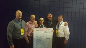 Noah Comar State Champ with Coaches 2017