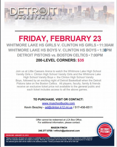 Varsity Boys and Girls Basketball to Play at Little Caesars Arena