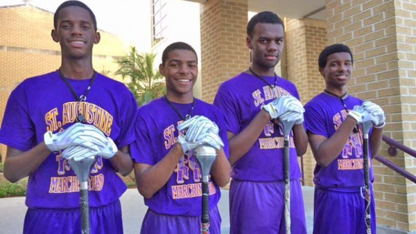 Marching 100 2015-2016 Drum Majors: Gerron Coleman, Carnell Carter, Daylen Briant and Marcus Keith.