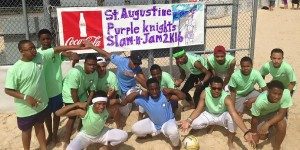 Several Purple Knights participated in the Slam 'N' Jam volleyball competition, hosted by the CYO Office of the Archdiocese of New Orleans on April 9 at Coconut Beach Volleyball Courts in Kenner. The annual event supports Camp Friendship and Camp Pelican.