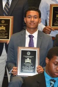 Jonathan with his award.