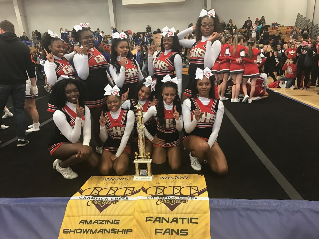 The Glenville Cheerleaders won 1st Place in their division, Best in Showmanship and 1st in Fantastic Fans at the Shaker Heights Competition today.