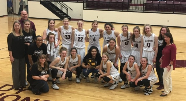 Blanchard High School Girls Basketball beat Bridge Creek High School 56-14 for District Championship