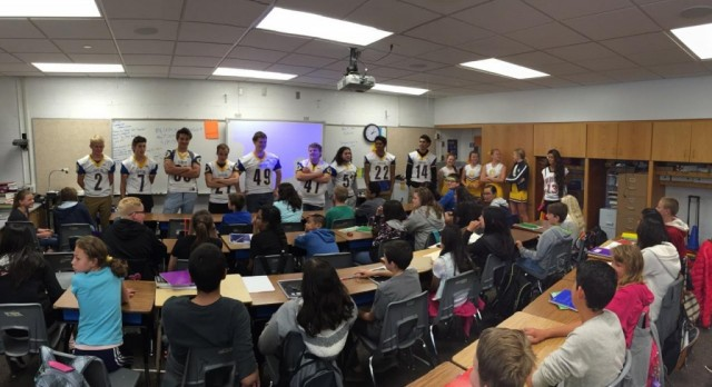 Football and Cheer Visit Feeder Elementary Schools