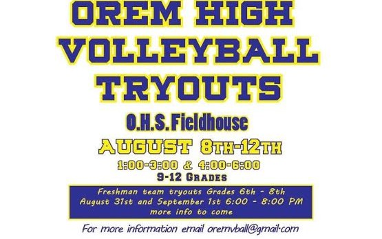 VOLLEYBALL – TRYOUT INFORMATION