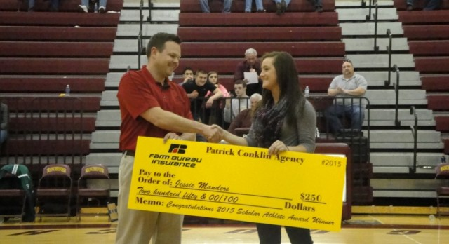 Jessie Manders Receives The District Scholar Athlete Award From Patrick Conklin Agency