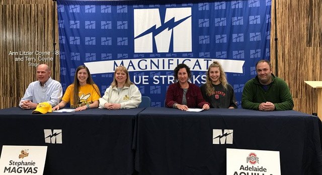 Magnificat Track & Field; Two Seniors Sign College Letters of Commitment