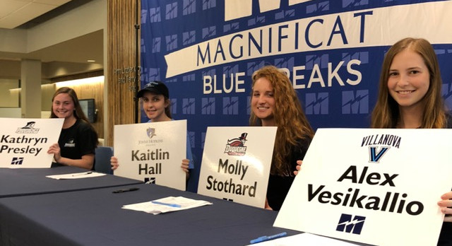 Four Blue Streaks Sign Letters Of Commitment