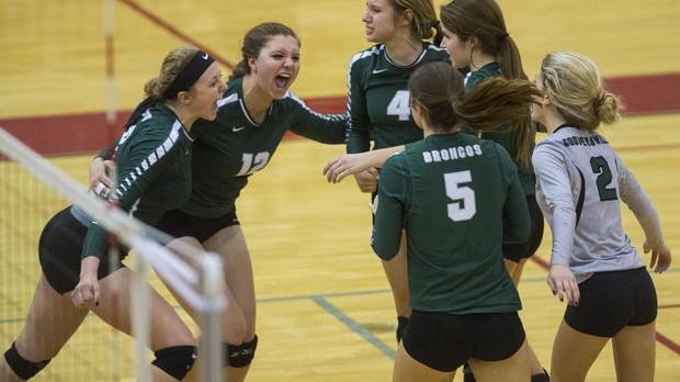 Coopersville High School Girls Varsity Volleyball beat Whitehall High School 3-2