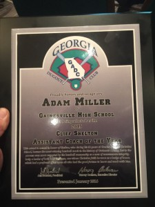 Adam Miller Assistant Coach of the Year 2015