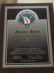 dugout club coach of the yr 2015jermey kemp