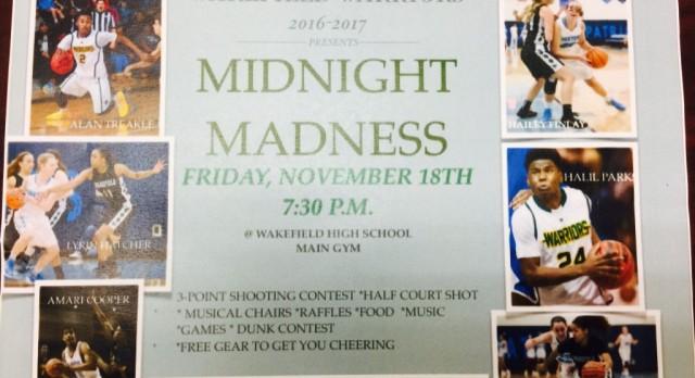 Midnight Madness – Girls/Boys Basketball Friday, November 18 – 7:30 PM