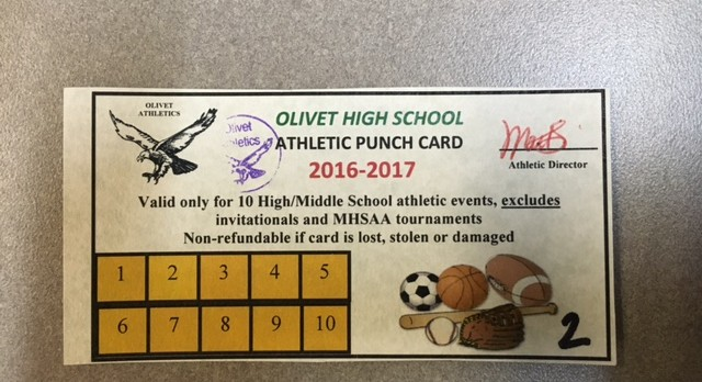 Punch Cards Available in Athletic Office