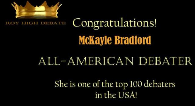 Congratulations,  McKayle!