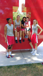 Jalyn Alton, Sicily Belcastro, Melina Flores, Trey doane, and Adeline Thomas at Utah University team camp