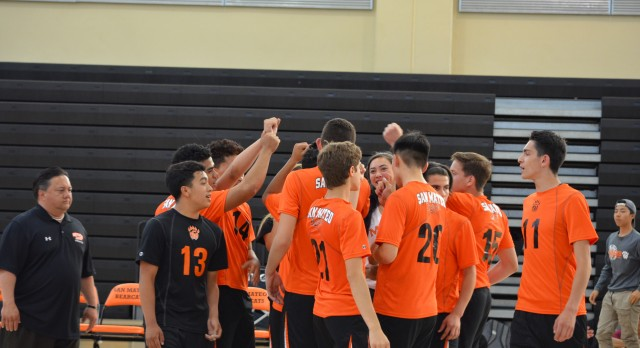 San Mateo High School Boys Varsity Volleyball beat Hillsdale High School 3-0