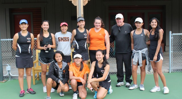 San Mateo High School Girls Varsity Tennis beat Carmel High School 4-3