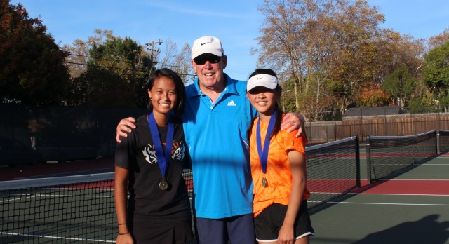 San Mateo High School Girls Varsity Tennis beat Menlo-Atherton High School 2-1
