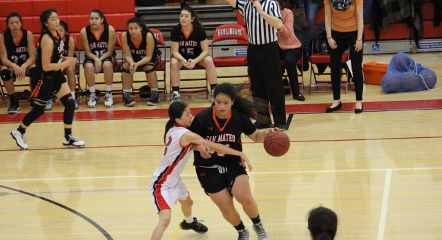 San Mateo High School Girls Varsity Basketball beat Burlingame High School 46-39