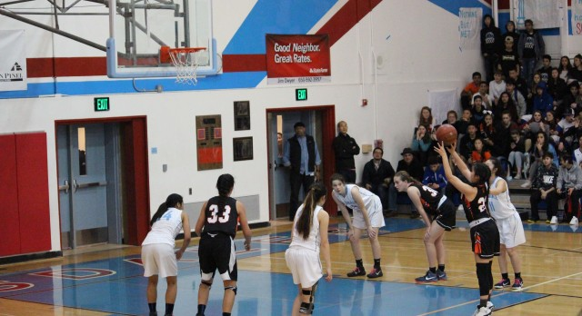 San Mateo High School Girls Varsity Basketball beat Hillsdale High School 46-44