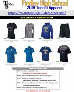 2016 Findlay Tennis Apparel Online Flyer