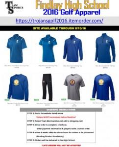 2016 Findlay Golf Apparel Online Flyer