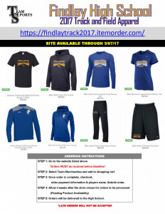 2017 Findlay Track and Field Apparel Online Flyer