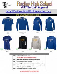 2017 Findlay Softball Apparel Online Flyer