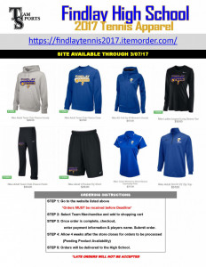 2017 Findlay Tennis Apparel Online Flyer