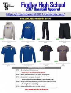 2017 Findlay Baseball Apparel Online Flyer